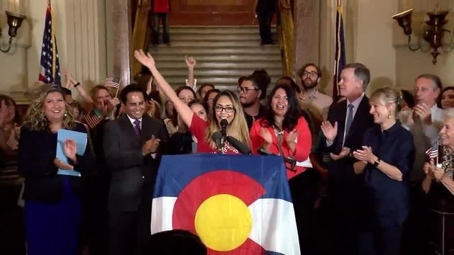 Monica Acosta speaks at the statehouse in Denver following the announcement that DACA would end.