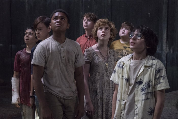 The Losers Club in It. From left to right: Eddie (Jack Dylan Grazer), Bill (Jaeden Lieberher), Mike (Chosen Jacobs), Stan (Wyatt Oleff), Beverly (Sophia Lillis), Ben (Jeremy Ray Taylor), and Richie (Finn Wolfhard).