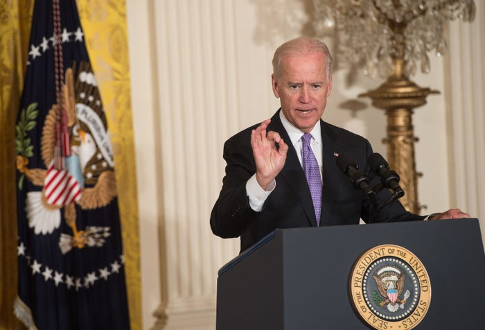 """At the White House in 2014, Vice President Joe Biden spoke at the launch of the """"It's On Us"""" campaign to prevent campus sexual assault."""