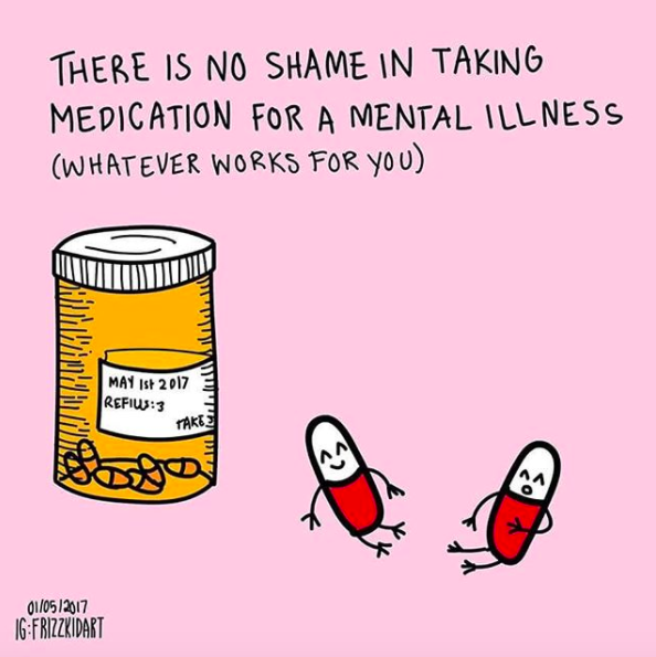 """""""I've been taking medications for my obsessive-compulsive disorder (OCD) and mood disorders for years. I genuinely believe that finding the right medication and therapists saved my life. But even though they helped me, I always felt a little self-conscious about my meds. This stopped with my current boyfriend. He made me realize how important it is to have a supportive partner when struggling with mental illness. I remember the first time he saw me take my pills. I made a self-deprecating joke about it, and he said, """"You taking your pills is like brushing your teeth. It's not a big deal. It takes care of you."""" This kind of support, even little comments like that, can be so impactful.""""—amsieleru"""