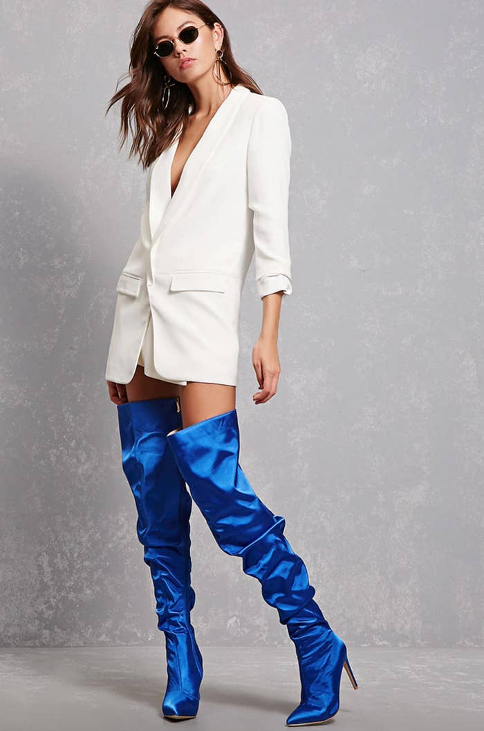 c004e0f6aeb A pair of satin over-the-knee boots so you can add the perfect amount of  shine to any outfit.