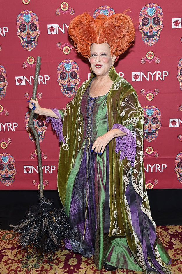 Bette Midler as Winifred Sanderson, her character from Hocus Pocus.