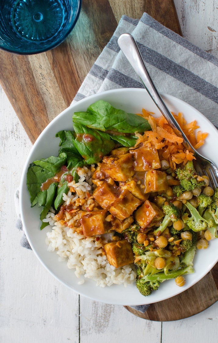 The secret's in the sweet-and-tangy sauce, which is made with sesame oil, soy sauce, maple syrup, chili-garlic sauce, and peanut butter. But heads up: You'll want to eat it on everything. Get the recipe.