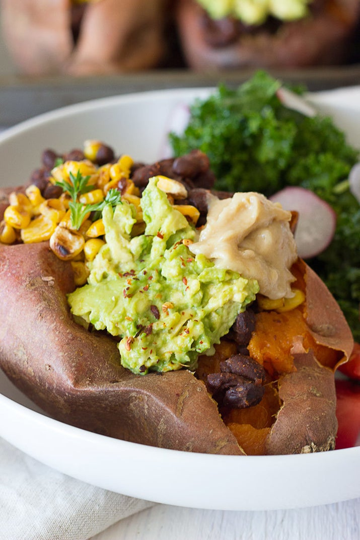 These Tex-Mex stuffed sweet potatoes can be made ahead of time and reheated for an easy weekday lunch. Get the recipe.
