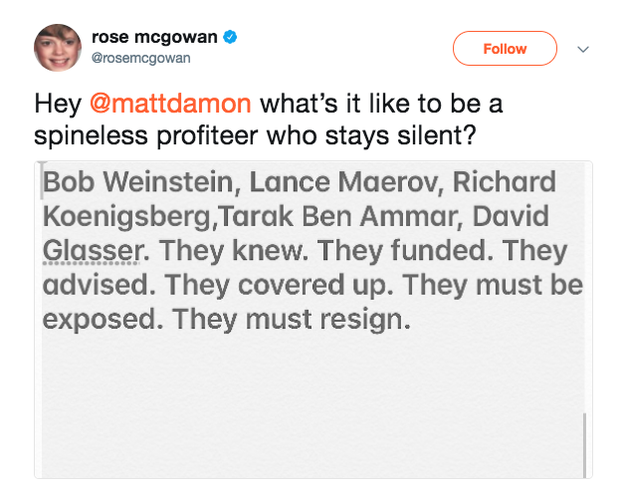 Rose McGowan has also called out the actor on Twitter.