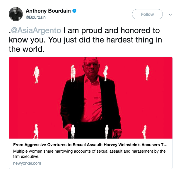 The allegations against Weinstein are personal for Bourdain. His girlfriend, Italian actor and director Asia Argento, told The New Yorker a harrowing account of Weinstein forcing oral sex on her. Bourdain shared a message of support for his girlfriend on Twitter Tuesday, with a link to the article which details her account.