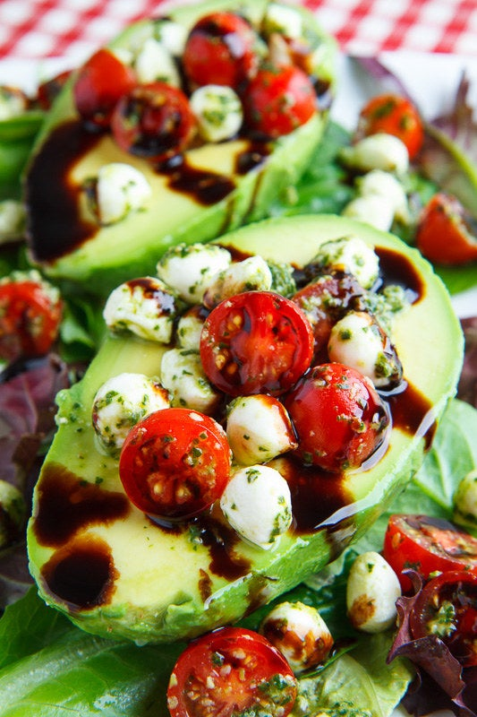 All you need is an avocado, cherry tomatoes, mozzarella balls and a drizzle of balsamic to make this simply genius lunch. Get the recipe.