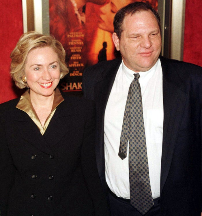 Former secretary of state Hillary Clinton and Harvey Weinstein as they arrive for the premiere of Shakespeare in Love in 1998.