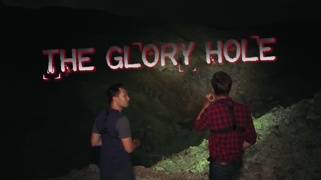 Unfortunately, due to deterioration, the mining tunnels were no longer safe for entry. But there was one place open for the guys to investigate — a massive tombstone called: