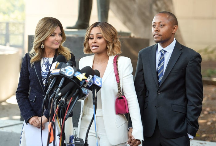Lisa Bloom, left, appears alongside Blac Chyna during a pre-court press conference in Los Angeles.