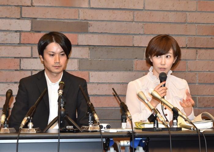 タトゥー裁判の判決後、記者会見する彫り師の増田太輝被告と亀石倫子弁護士
