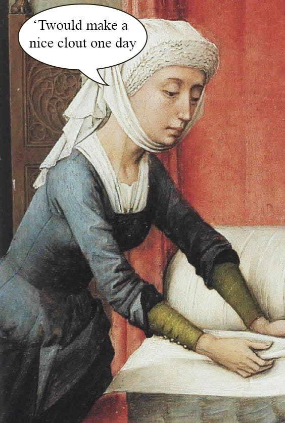 ここか ら「on the rag(女性が生理中であることを意味する)」という 表現が生まれた。中世の女性は下着を着用しなかったため、おそらく、ラグをベルト状のガードルにピンで留めていたのではと思われる。