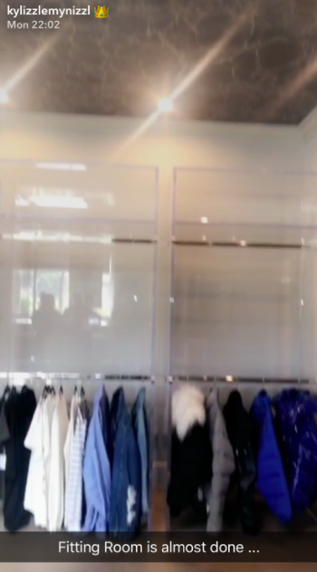 """Exhibit C: Kylie then went on to share a photo of her """"fitting room"""" being constructed, in which most of the clothes were blue."""