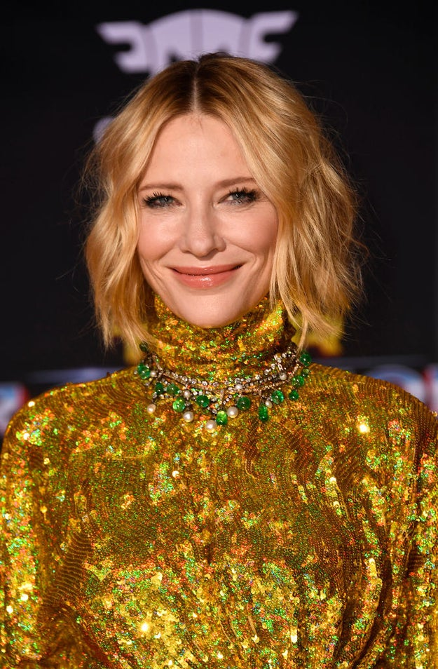 Cate Blanchett closed-mouth smiling.