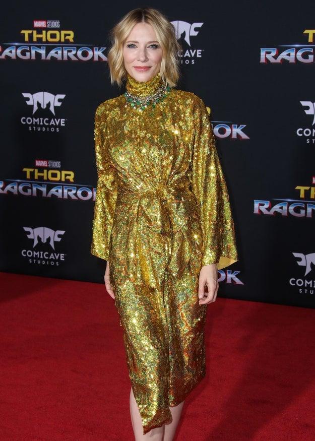 Cate Blanchett posing.
