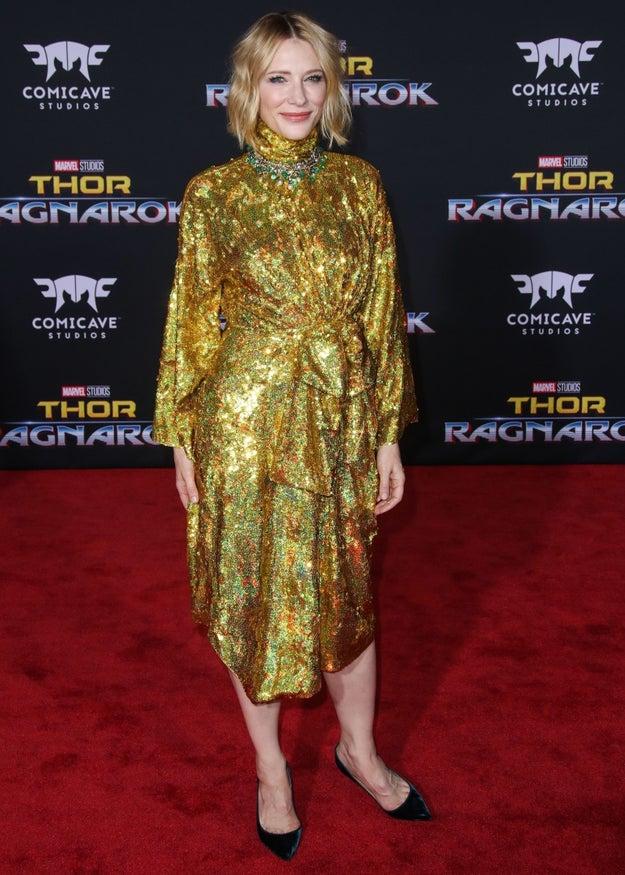 Cate Blanchett posing more.