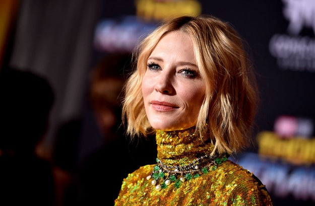 Cate Blanchett in more mood lighting with a slightly different expression on her face.