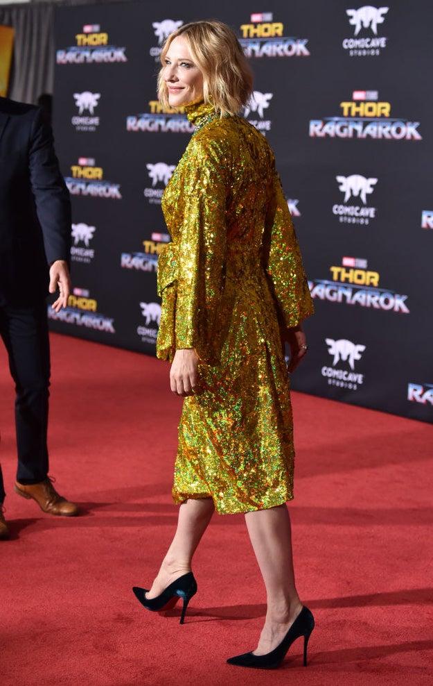 Cate Blanchett walking.
