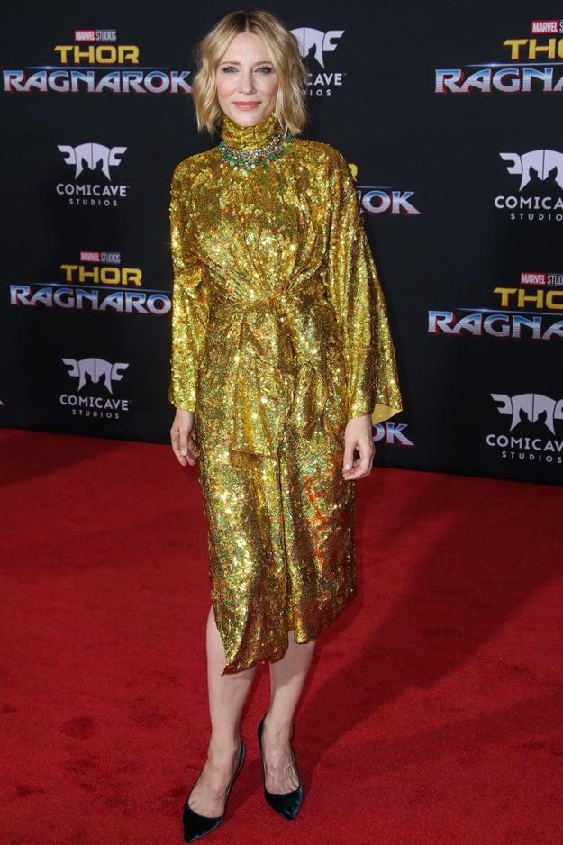 Cate Blanchett still posing.