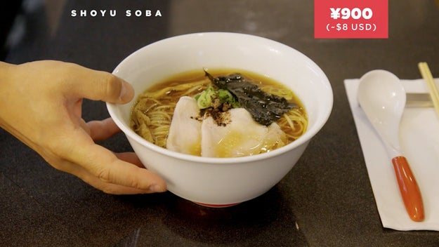 Here we would have a bowl of shoyu soba at ¥900 or $8.00.