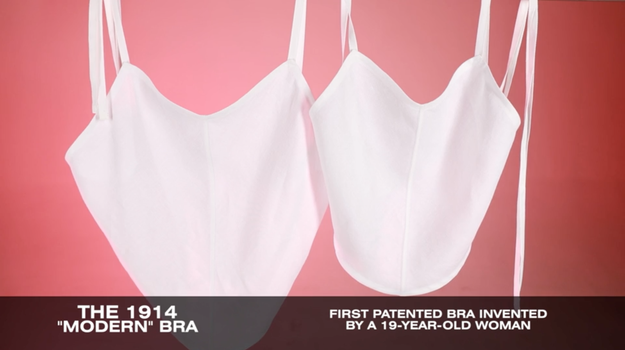 Next, we tried the first actual bra to be patented in the United States of America from 1914, which naturally looks like every top that Britney Spears wore in 1999: