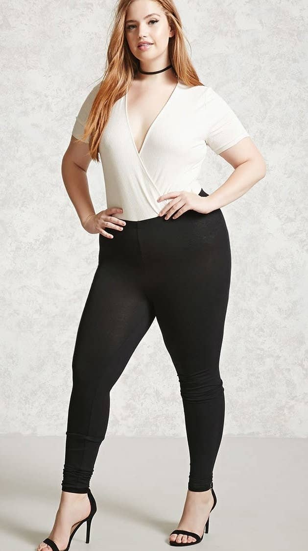 """These are made from 94% cotton and are oh-so-comfy. Promising review: """"These are my favorite leggings to wear with tunics and long sweaters. They're so comfy and you can't beat the price! I keep them stocked in my closet all year long."""" —Lucyjack''s MomPrice: $5.90. Sizes: 0X-3X. Available in four colors."""