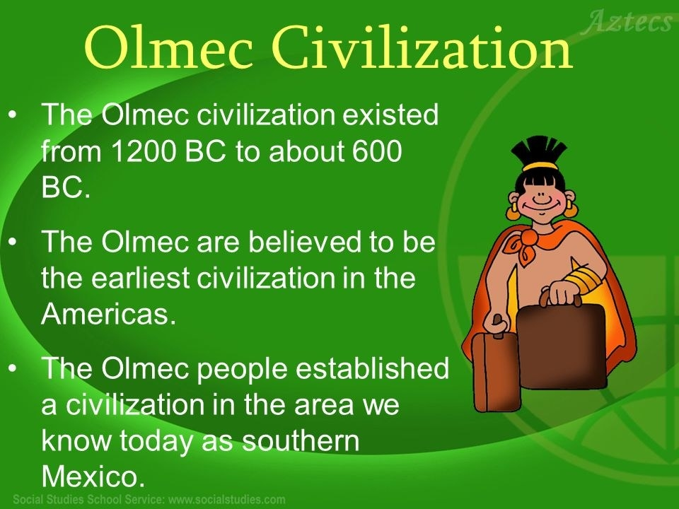 an analysis of the olmec were mesoamericas first civilization Although archeologists have used the name olmec, to refer to the black builders of ancient mexico's first civilizations, recent discoveries have proven that these afro-olmecs were west africans of the mende language and cultural group.