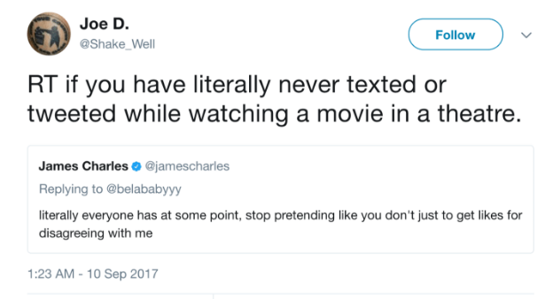 BUT PEOPLE WERE STILL COMING FOR HIM FOR USING HIS PHONE IN THE THEATER.