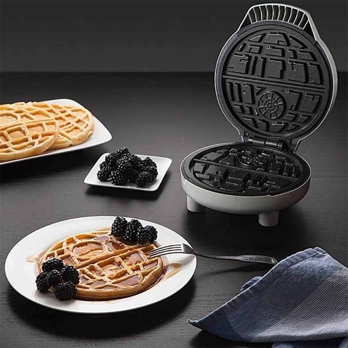 "Promising Review: ""Awesome waffle maker! It heats up quickly and makes perfect Death Stars! I love it!"" —Aisya Lynne LoudonGet it from Amazon for $44.99, Jet for $39.99, or Walmart for $51.99."