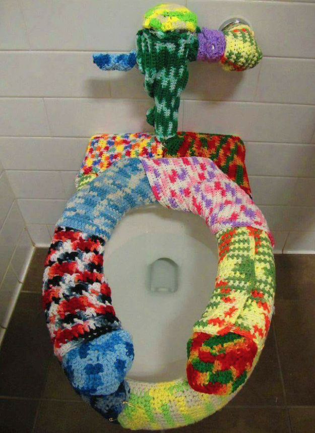 This crocheted toilet seat that is super sanitary.