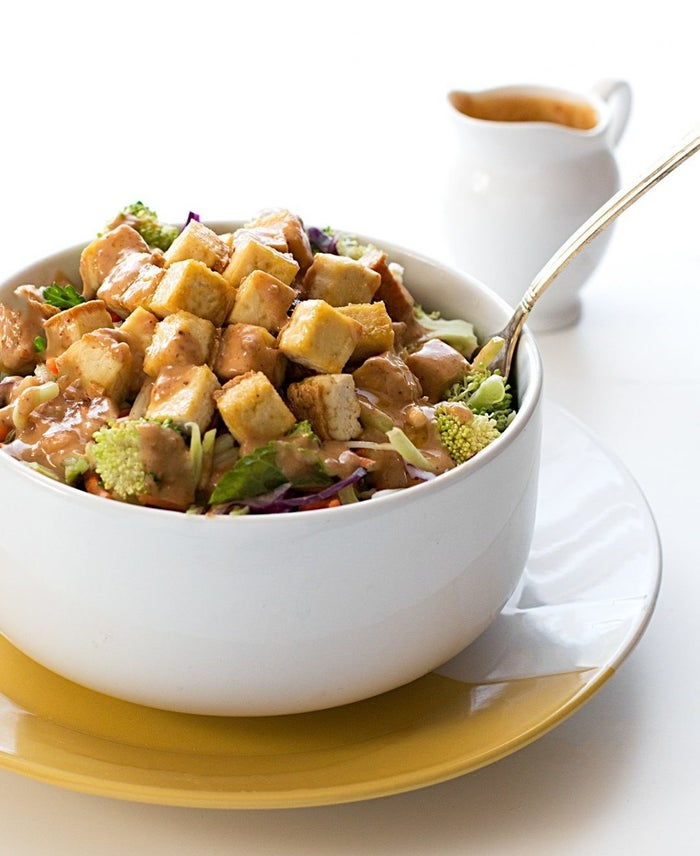 Use a crunchy peanut butter to add extra texture to your dressing. Recipe here.