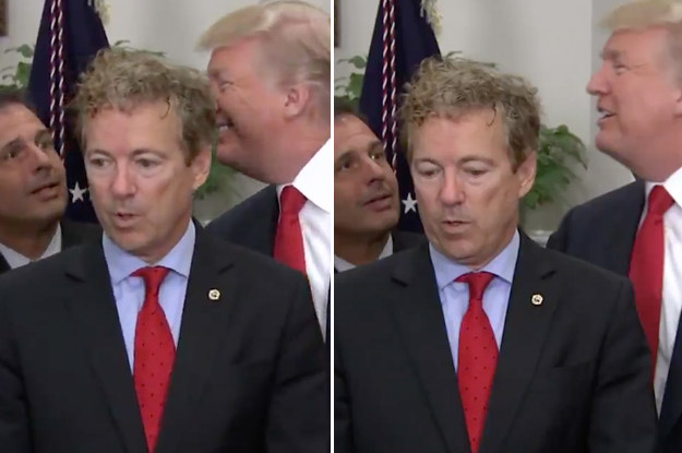 Just some completely normal faces for a member of the president's own party to make around him.