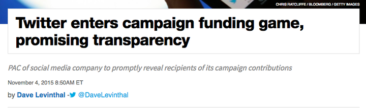 Similar to the kind of transparency the company promised in 2015 when Twitter began making federal campaign contributions