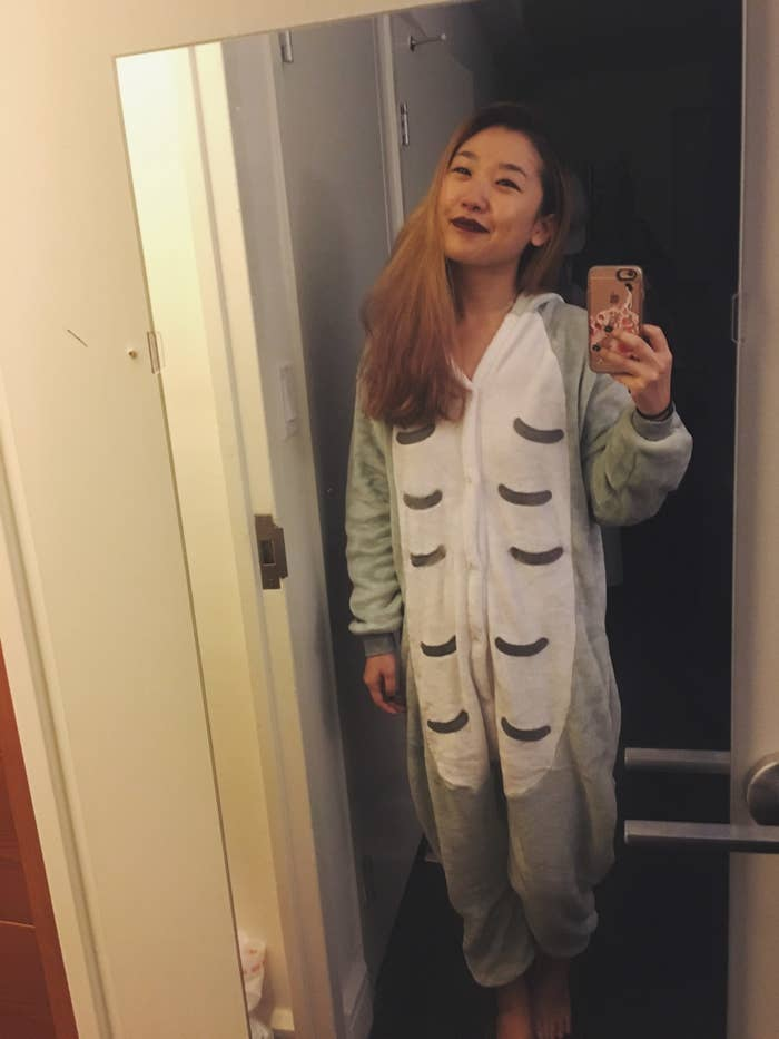 (Too cheesy? Deal with it.) The most vital piece of information I must impart about this onesie is how wonderfully slouchy and SO FRIGGIN SOFT it is. I could spend a whole day running my hands over the plush material. And once it's on your body, it's like wrapping yourself in a cavern of fluff or like napping on top of Totoro himself (like in the previous GIF — I think about this a lot, ok?).