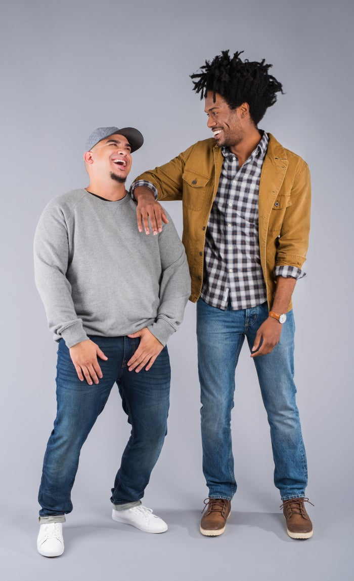 "Alex, 5'11"", (left) favors solid colors and is all about wearing accessories to stand out, whereas Rich, 6'2"", (right) takes pride in expressing himself with a mashup of styles."