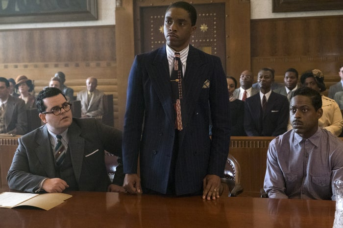 Gad, Boseman, and Brown in Marshall.