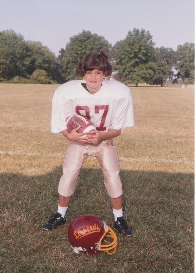 """I was on the middle school football team and my long hair always got caught in my helmet so my mom gave me this sick 'do. I still haven't forgiven her."""
