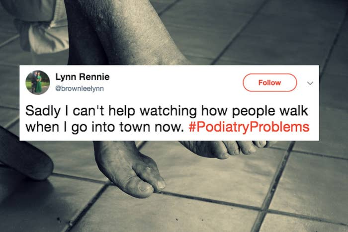 But only because we want to help them with their gait problems, and we can't help wondering what problems are lurking beneath their fancy shoes.