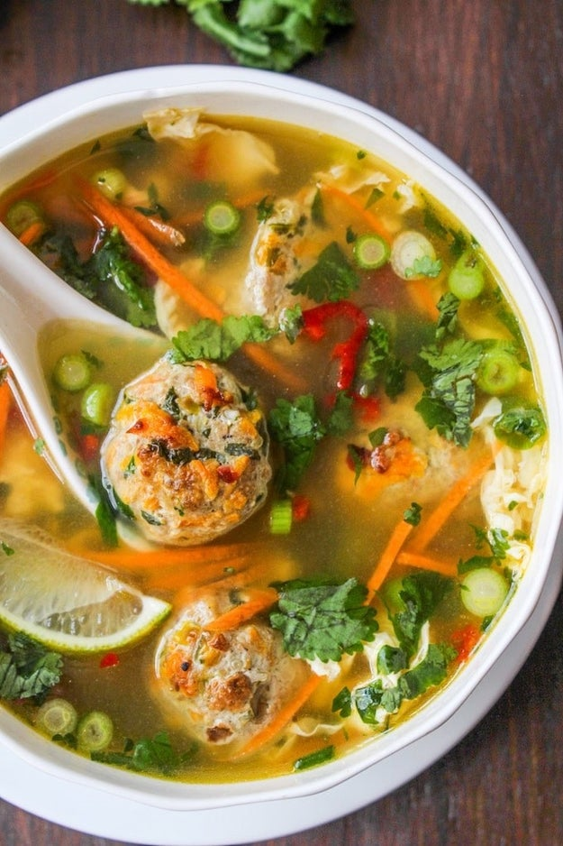 Thai Chicken Meatball and Egg Drop Soup