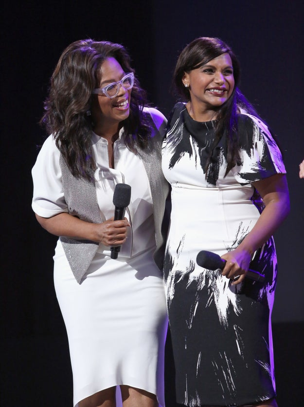 "During D23 in July, Oprah — who stars alongside Mindy in A Wrinkle in Time — told People that Mindy was five months pregnant and that she was ""very excited for her."""