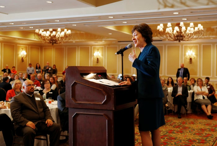 Sen. Susan Collins speaks at the Penobscot Bay Regional Chamber of Commerce's Quarterly Business Breakfast in Rockport, Maine, on Oct. 13, 2017.
