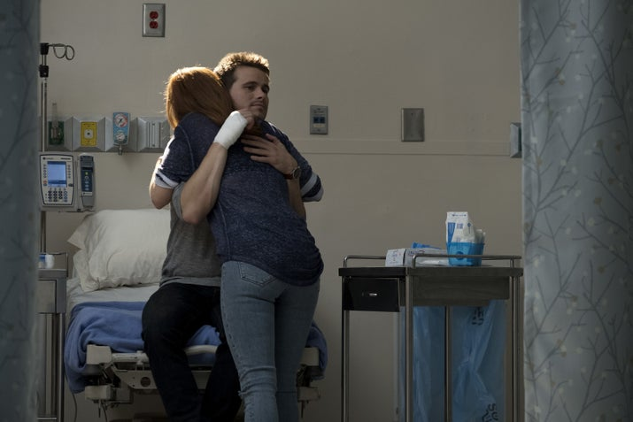 "Amy rushes Kevin to the hospital and they have a beautiful heart-to-heart when his hand is bandaged. She and John got the truck and started working on it together before he died. When she works on it now, she talks to him and feels like he's there with her. Awww! Pass the tissues, please. Kevin hugs his sis, finally understanding how much pain she has been in and how she puts up such a strong front. He didn't mean to overstep, he just wanted to help her out a little bit. Jason Ritter and JoAnna Garcia Swisher have been perfectly cast in these roles. Their natural chemistry and combined energy just makes you smile...like hugs from fluffy puppy. They know how to balance comedy and drama and they exceedingly excel at both. Which is why their scenes together make me cry, laugh and ultimately, laugh-cry. Amy bares her soul by revealing this secret and Kevin's take-away is that the truck is haunted. He's joking, of course. He wants them to be able to talk to each other. Then he says the sweetest thing, ""I'll be your haunted truck."" Sigh.While Amy go gets the car, Kevin gives in to the universe and visits Karl."