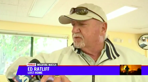 Ed Ratliff, 68, had been looking for his cat Milo since his Santa Rosa home was destroyed in the early hours of Monday.