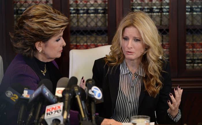 Summer Zervos (right), who previously accused President-elect Donald Trump of sexually assaulting her, speaks at a press conference with attorney Gloria Allred at Allred's office in Los Angeles on Nov. 11, 2016.