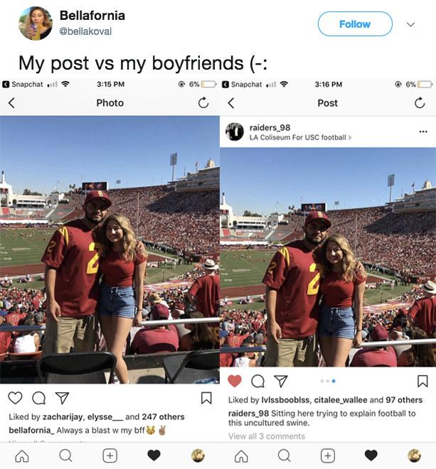 This boyfriend's Instagram caption.