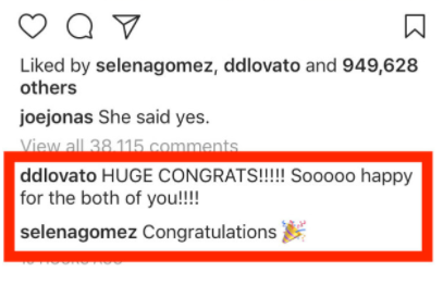 Not going to lie, I got CHILLS seeing Demi and Selena hanging out in an Instagram comment section together.