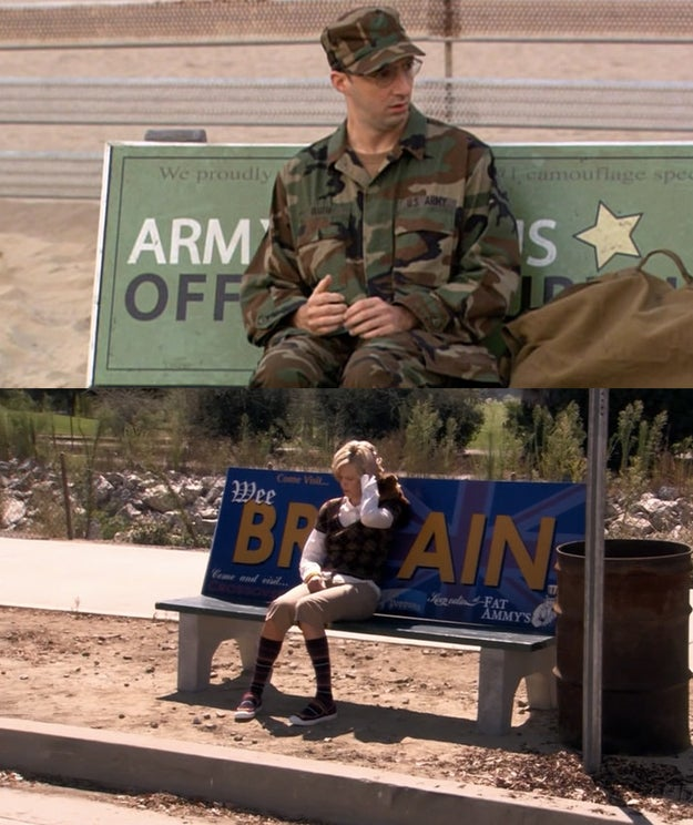 On Arrested Development, characters often sit on bench advertisements in ways that hint at future plot points.