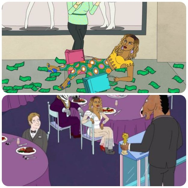 On Bojack Horseman, Beyonce falls down in one episode; the next time we see her, she's wearing a cast.