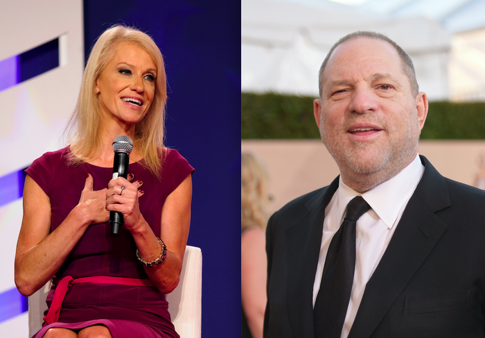 Kellyanne Conway at the Values Voter Summit Friday. Harvey Weinstein in January.