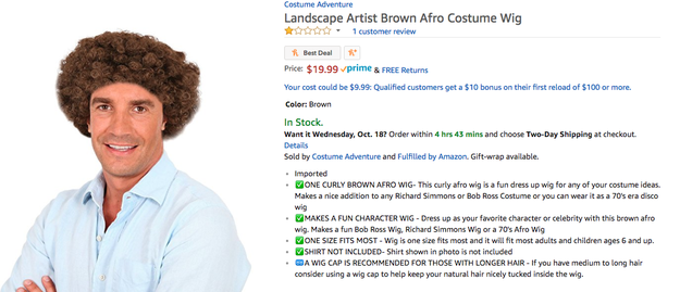 "This ""Landscape Artist Brown Afro"" wig is in no way supposed to be Bob Ross."